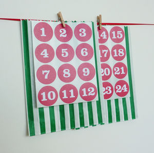 Advent Stickers And Green Party Bags - advent calendars