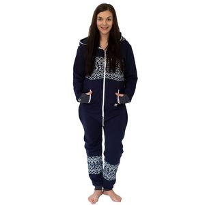 Women's Navy Blue Onesie Lounge Wear - women's fashion