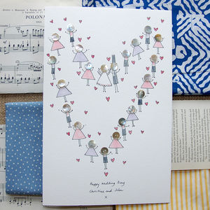 Personalised Large 'Button Wedding' Card