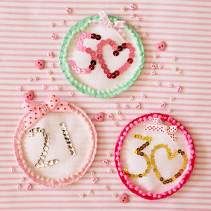 Birthday Age Sequin Badge - pins & brooches