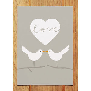Love Doves Postcard Grey - wedding, engagement & anniversary cards