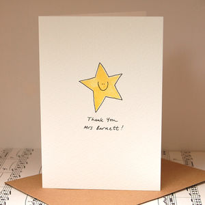 Personalised 'Smiley Star' Handmade Card - christmas cards
