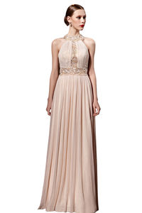 Beige Chiffon Halter Long Evening Dress