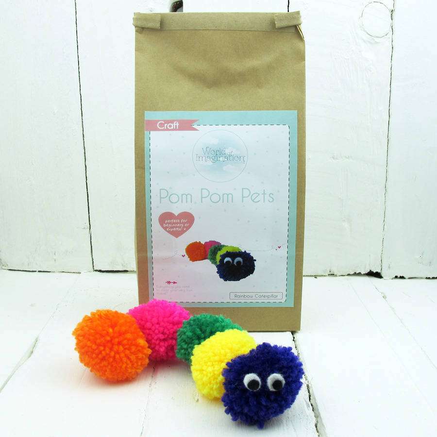 Pom Pom Pets Craft Kit Rainbow Caterpillar
