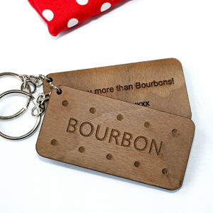 Personalised Bourbon Biscuit, Walnut Wood Keyring
