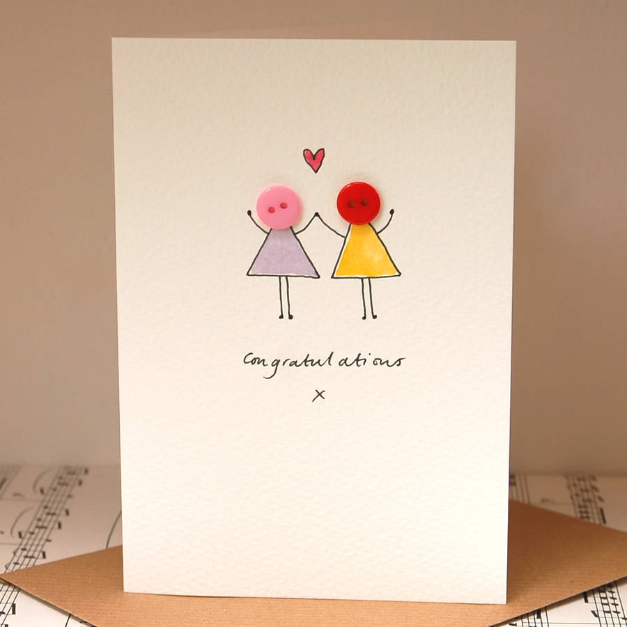 personalised 'button love' hand illustrated card by hannah