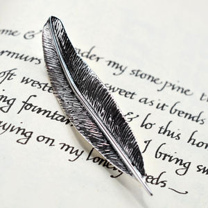 Sterling Silver Feather Brooch - pins & brooches