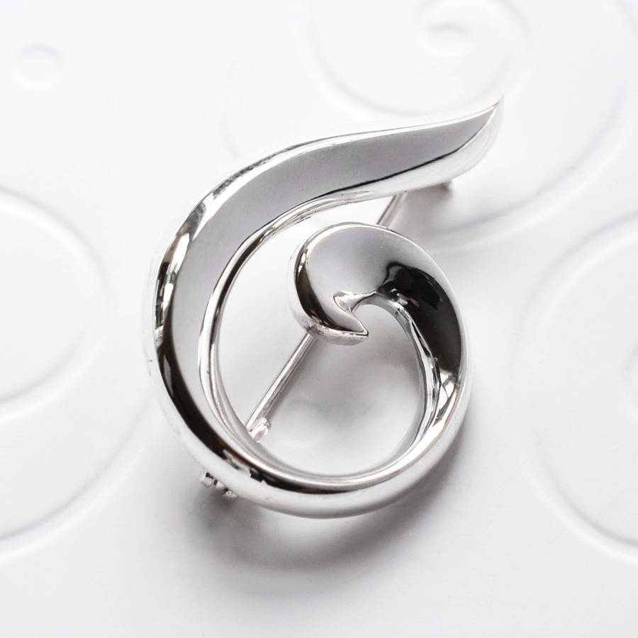 Sterling silver spiral brooch by martha jackson sterling for The sterling