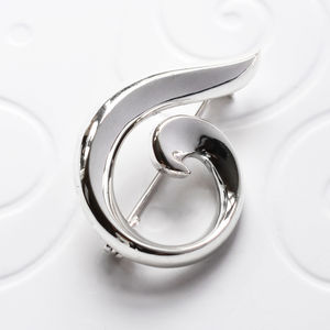Sterling Silver Spiral Brooch - pins & brooches