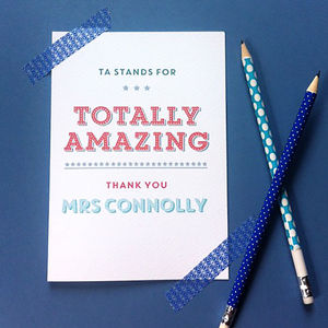 'Totally Amazing' Personalised Teaching Assistant Card