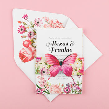 Pink butterfly invitation - assembled