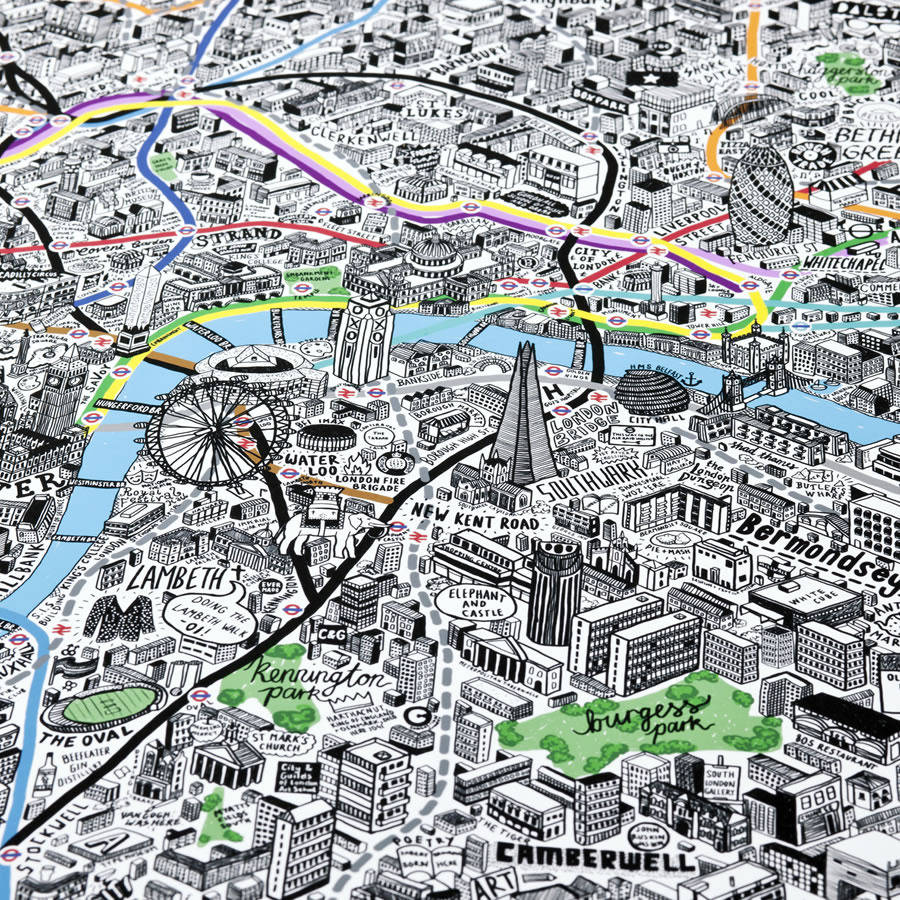 hand drawn map of london print by evermade notonthehighstreetcom