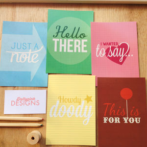 Mixed Pack Of Five 'Written With Love' Postcards
