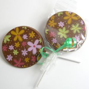 Chocolate Lollies, Set Of 10, With Colourful Designs - wedding favours