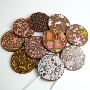 Chocolate Lollies, Set Of 10, With Colourful Designs - sweets