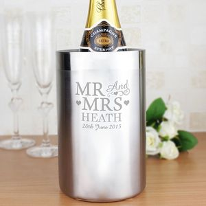 'Mr And Mrs' Personalised Steel Wine Cooler
