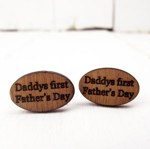 Engraved Daddy's First Father's Day Cufflinks - cufflinks