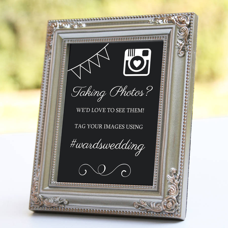 personalised instagram wedding sign by nutmeg home & gifts