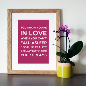Dr Seuss 'In Love' Quote Print Or Canvas