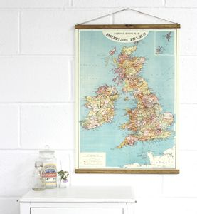 School Room Map Of The British Isles Wall Hanging - nursery pictures & prints