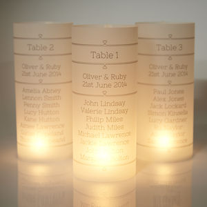 Wedding Table Luminaries - wedding stationery