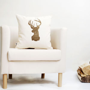 Gold Stag Head Pillow - cushions