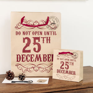 Do Not Open Until 25th December Gift Bags - wrapping