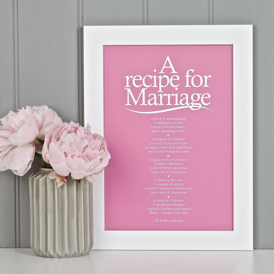 personalised marriage print with marriage poem by bespoke verse ...