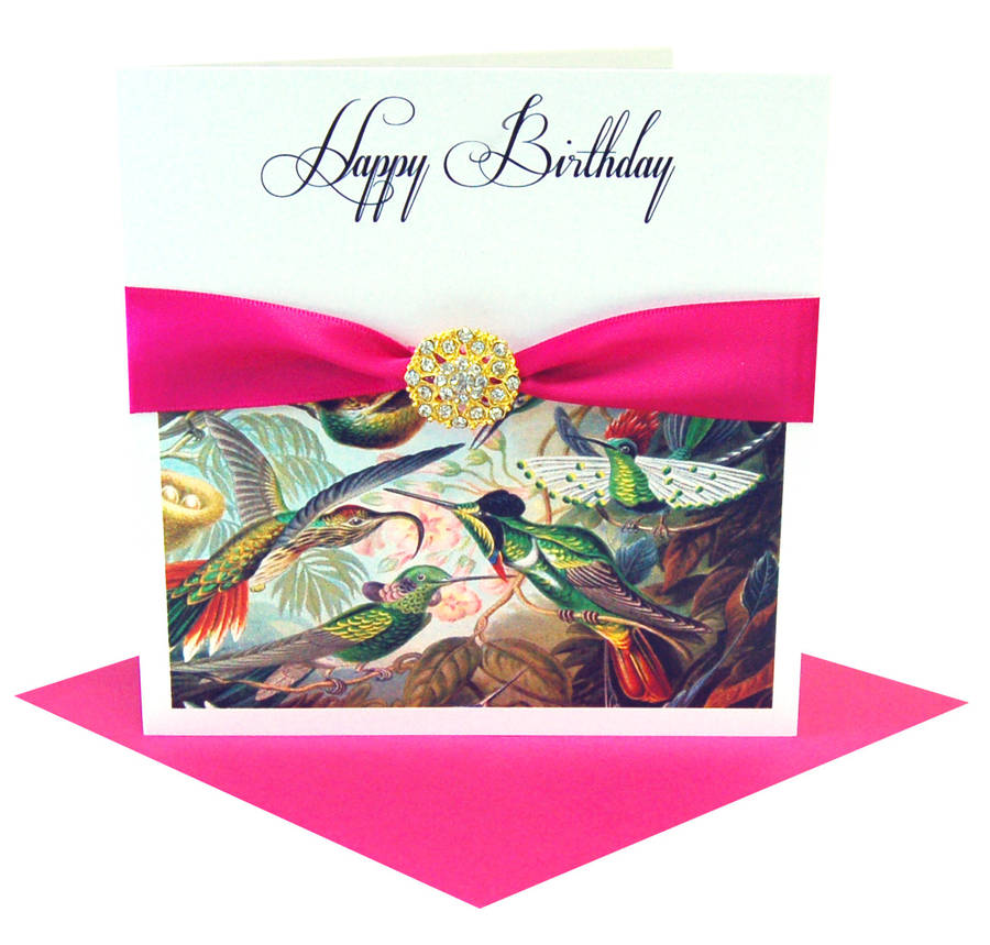 Bird Tropical Print Ladies Personalised Birthday Card