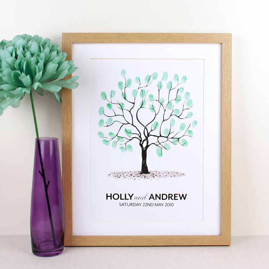 personalised wedding fingerprint tree print by intwine design ...