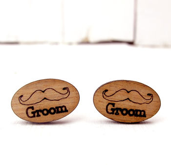 Engraved Moustache 'Groom' Cufflinks