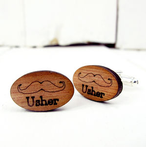 Engraved Moustache 'Usher' Cufflinks - wedding thank you gifts