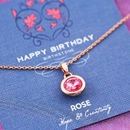 Happy Birthday Birthstone Gem Necklace On Gift Card