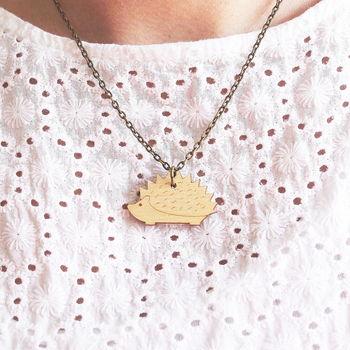 Wooden Hedgehog Necklace