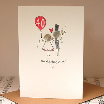 Personalised 'Button Anniversary' Handmade Card