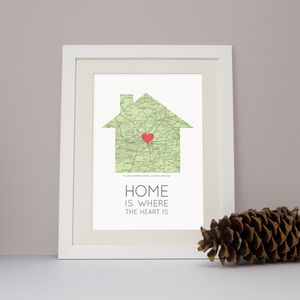 'Home Is Where The Heart Is' Map Print - living room