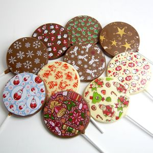 Christmas Chocolate Lollies, Set Of 10 - lollipops