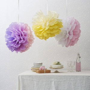 Tissue Paper Two Colour Pom Pom Flower - outdoor decorations