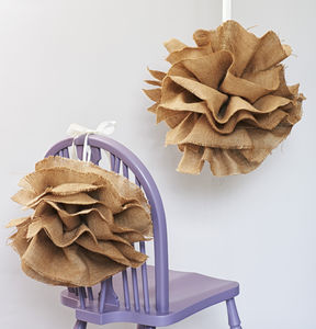 Set Of Two Handmade Hessian Pom Poms - outdoor decorations