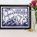 Here Be Monsters Nautical Linocut Print