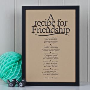 'A Recipe For Friendship' Vintage Style Poem Print - art & pictures