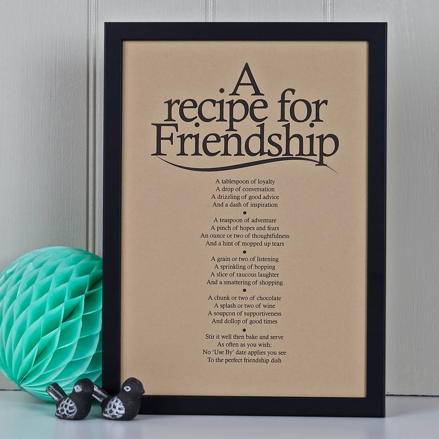 Personalised Friendship Recipe Print With Poem By Bespoke Verse