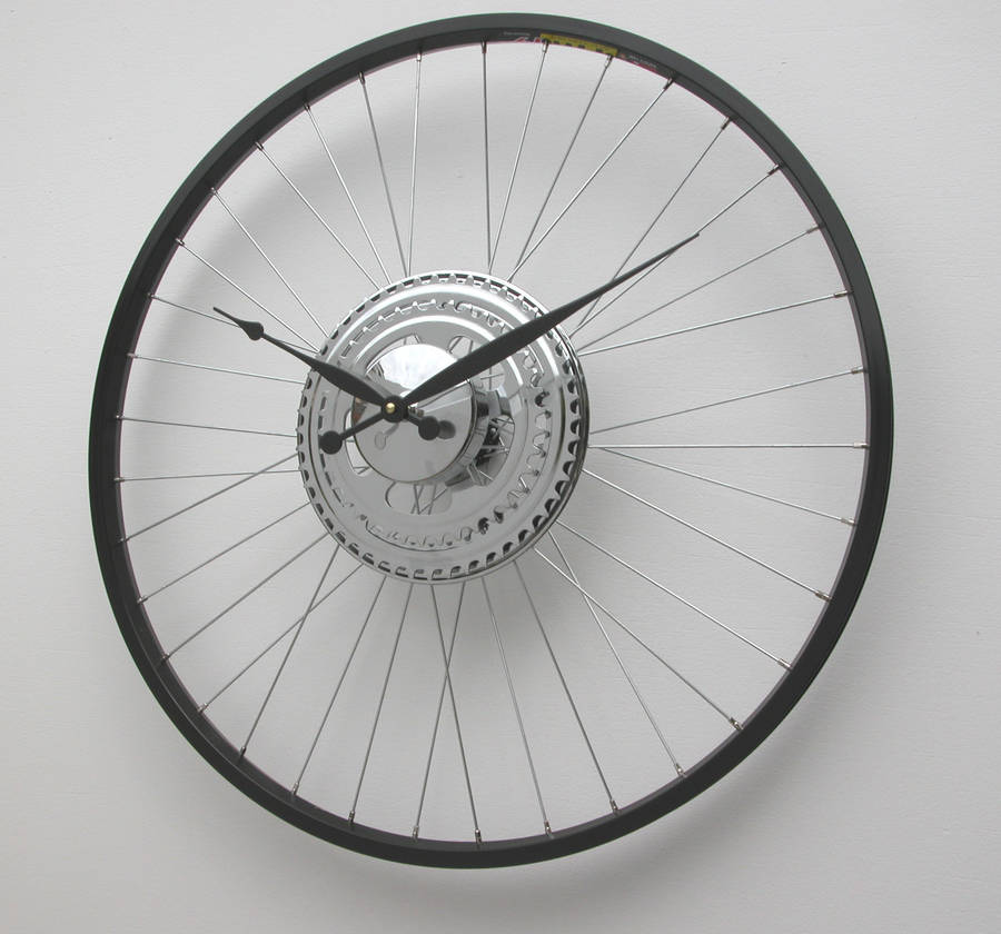 bike wheel clock black rim by vyconic