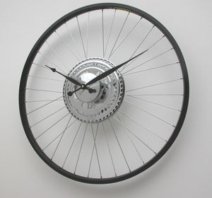 Bike Wheel Clock Black Rim - living room