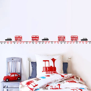 Children's London Bus And Taxi Wall Sticker Border - baby's room