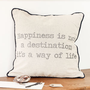 Happiness Black And Beige Cushion - cushions
