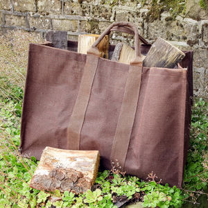 Extra Strong Autumn Brown Log Bag - fireplace accessories