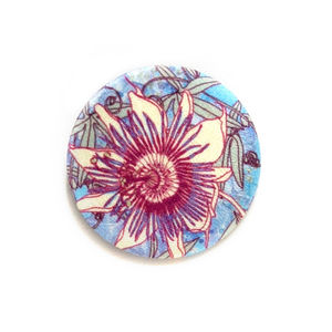 Passion Blue Silk Covered Brooch