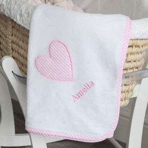 Personalised Heart Applique And Stripe Trim Blanket - bedding & accessories