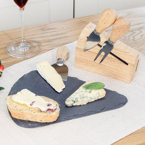 Alfresco Slate Cheese Board And Cheese Knives Gift Set